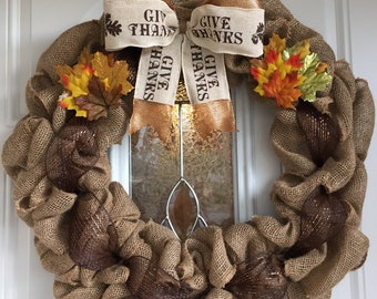 """12"""" Give Thanks Wreath"""