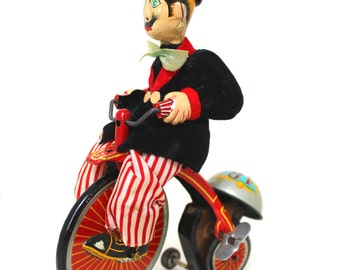 Vintage Litho Tin Toy - Gay 90's Cyclist TPS Tokyo Plaything Shokai Wind Up Mechanical Toy