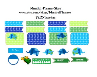 Argyle Blue and Green Elephants Planner Sticker