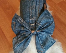 Denim Harness With Matching Bow