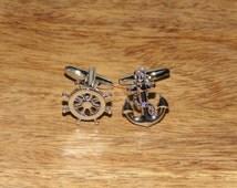 Nautical Silver Cufflinks, Ship's Anchor & Wheel cufflinks, Silver cufflinks, Mens Nautical gifts, Nautical gifts