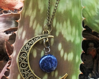 Crescent Moon With Sodalite Gemstone Necklace