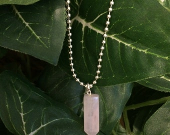 Rose Quartz Crystal Point Necklace