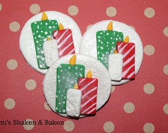 Fondant Cupcake Topper Decoration Edible 12x Christmas Candle