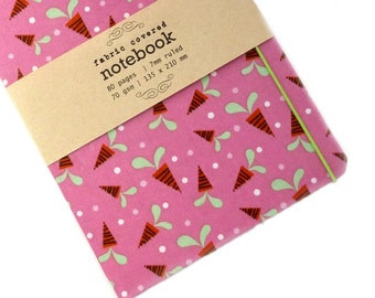 Carrot Pink Fabric Covered Notebook