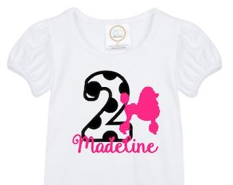 girls' personalized french poodle birthday shirt vinyl custom