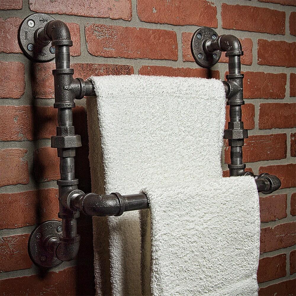 industrial bath towel rod bathroom shelf home decor. Black Bedroom Furniture Sets. Home Design Ideas