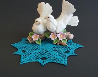 Crochet doily, Home decor, crochet table topper, turquoise table topper, handmade, wedding decor, crochet centerpiece, round crochet dollies