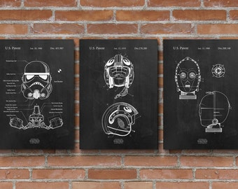 Star Wars Patents Set of 3 Prints, Star Wars Prints, Star Wars Posters, Star Wars Blueprints, Star Wars Wall Art, Patent Poster - S003