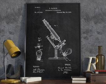 Vintage Microscope Patent, Pharmacy Gift, Science Decor, Technology Art, Patent Poster - DA0386
