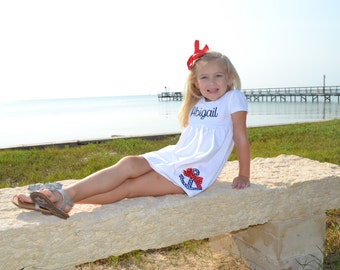 Nautical Dress / Anchor Dress / Anchor Applique Shirt / Monogram Dress / Personalized Girls Summer Dress / Initial Dress / 4th of July Dress