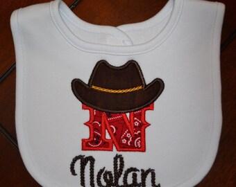 Personalized Cowboy Baby Bib, Cowboy Baby Bib, Baby Boy Bib, Baby Gift