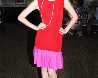 Pink and red color blocking  sleeveless dress with low back