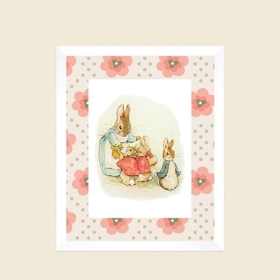 Peter Rabbit Nursery Decor Baby Girl Floral Vintage Print