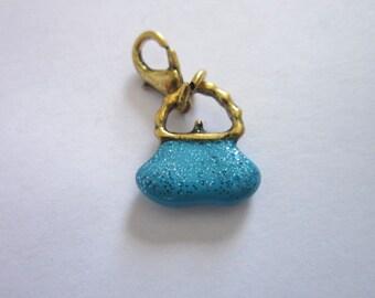 Vintage Blue Sparkled Fancy Purse Charm Bracelet Charm