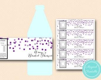Purple Silver Bridal Shower Bottle Labels, Wedding Water Bottle Labels, Custom Label, Baby Shower Labels, Purple Wedding  bs426 TLC426 SN426