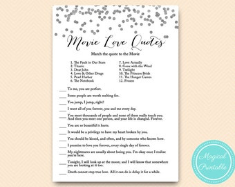 Silver Movie quote game, famous quotes, bridal shower movie love quote game, Confetti Bridal Shower, Bachelorette, Wedding Shower BS149
