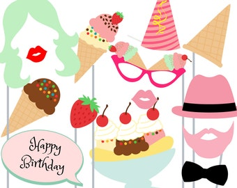 Print Yourself Icecream Shoppe Party Photo Booth Party Props
