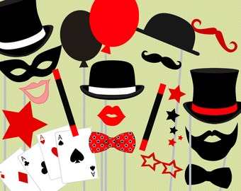 Print Yourself Magician Photo Booth Party Props