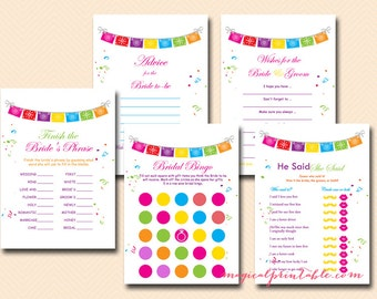 Fiesta Bridal Shower Games Package, Luau Bridal Shower Games, Bachelorette, Wedding Shower Games BS136