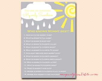 who knows mommy best, how well do you know mommy, You are my sunshine Baby Shower Games Printable, Gender Neutral baby, TLC112