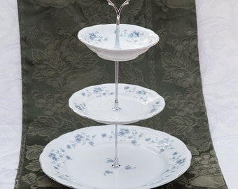 Pretty 3 Tier stand with blue flowers, three tier stand, cupcake stand, cake stand, centerpiece