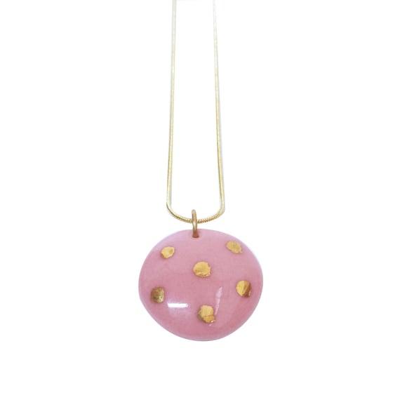 polka dots necklace Pink