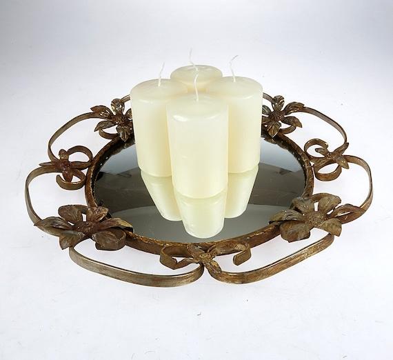 Vintage vanity mirror tray gold round dresser