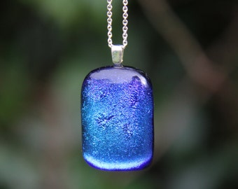 Blue and purple dichroic pendant, dichroic glass necklace
