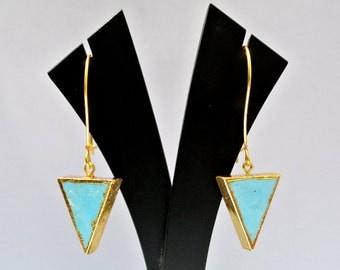 Gold Electroform Turquoise Triangle Earrings Gemstone Earrings Handmade Earrings Dangle Earrings Drop Earrings Handmade Jewelry GJW07
