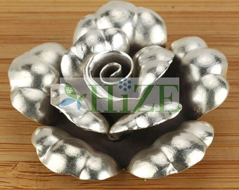 HIZE SF123 Thai Karen Hill Tribe Silver Rose Flower Focal Pendant 39mm