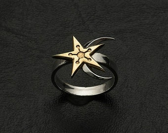 Moon-and-Star ring inspired by The Elder Scrolls game made from white bronze
