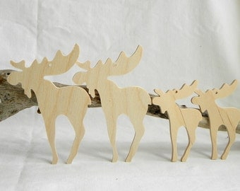 Wooden Moose Ornaments, set of 4, Unfinished, 2 large & 2 small DIY kit,  gift / momento / holiday decoration