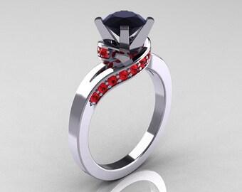 Classic 10K White Gold 1.0 Ct Black Diamond Rubies Designer Solitaire Ring R259-10KWGRBD