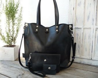 Leather tote, Leather tote woman, black leather tote, large leather tote, shoulder leather tote, leather tote shopping bag, Emma - black!