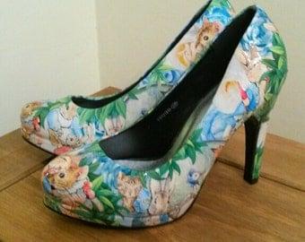 Peter Rabbit / Beatrix Potter customised decoupage heels
