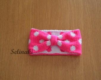 Knit Polka Dot Headband Pink Ear Warmer