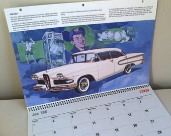 SALE! The Fabulous Fifties, Car Lovers Calendar, Vintage Car Collector, Fabulous Illustration, Car Lover, Fifties Collector, 1950's, Decor