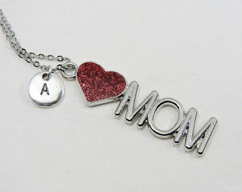 Large Mom Necklace, Mom Jewelry Gift, Mom Charm, Mom Pendant, Mom Pendant Necklace, Mother Daughter,Mom Gifts