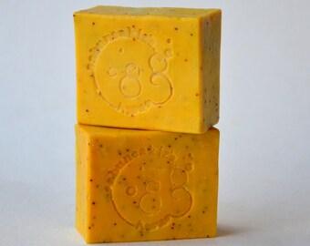 LEMON FLOWER SOAP - Poppy Seed Exfoliating Soap, Handmade Soap, Homemade Soap, Natural Soap, Bar Soap, Vegan soap
