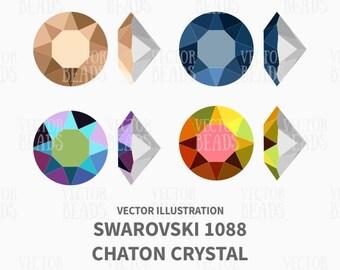 Swarovski Crystal - Xirius Chaton 1088 Vector Illustration - Beads Vector Graphics - eps, ai, pdf, png
