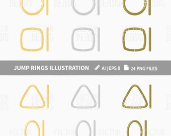 Jump Rings Clip Art Set - Round, Square, Oval, Triangle Jump Rings - ai, eps, pdf, png