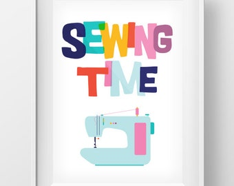 Sewing Time Print, Sewing Print, Tailor Wall Art, Tailor Decor, Digital Print, Instant Download