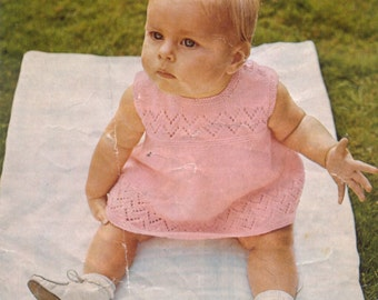 PDF Knitting Pattern Baby girl dress in 4 ply, fits chest 18-22 inches