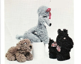 Crochet Pattern for 3 lovely cuddly dogs- lovely vintage pattern
