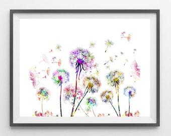 Printable Dandelions Field poster Instant Download Dandelions flowers field horizontal digital print downloadable dandelions illustration