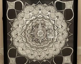 "Original hand drawn black Mandala 36""x36"""