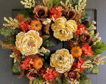 Front Door Wreath, Fall Wreaths, Hydrangea Wreath, Autumn, Thanksgiving, Pumpkin Wreath, Berry Wreath