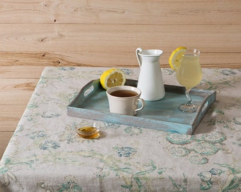 Linen tablecloth-Washed Printed Linen Tablecloth - Country chic tablecloth-Floral table linen-Width 55''(140cm)xCustom length.
