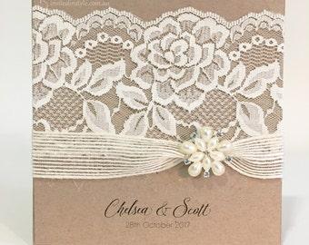 Rustic, Vintage Lace Handmade, Pocket Wedding Invitation in Kraft - PERSONALISED SAMPLE